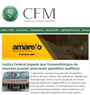 """Artigo no site do Conselho Federal de Medicina com o título """"Justiça Federal impede que fonoaudiólogos de empresa possam prescrever aparelhos auditivos""""."""
